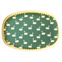 RICE Melamin Tablett oval, Swan/Schwan Print Khaki