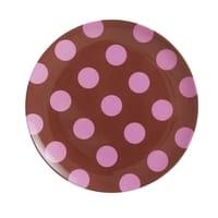 RICE Melamin Frühstück-Teller Braun, soft pinkfarbene Punkte, Follow the call of the Disco ball