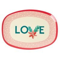 RICE Melamin Tablett, Oval, LOVE, Weihnachstedition 2020